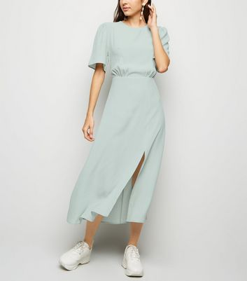 Mint Green Side Split Short Sleeve Midi Dress