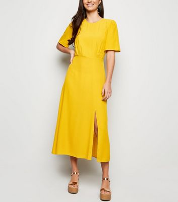 Mustard Side Split Short Sleeve Midi Dress