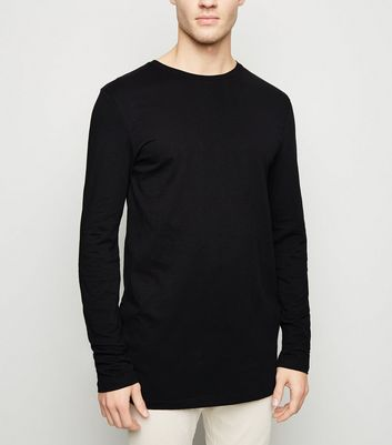 Black Long Sleeve Longline T-Shirt