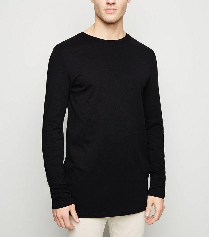 f96ab9ff Black Long Sleeve Longline T-Shirt | New Look