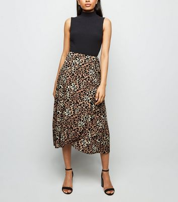 Petite Brown Leopard Print Tie Side Midi Skirt