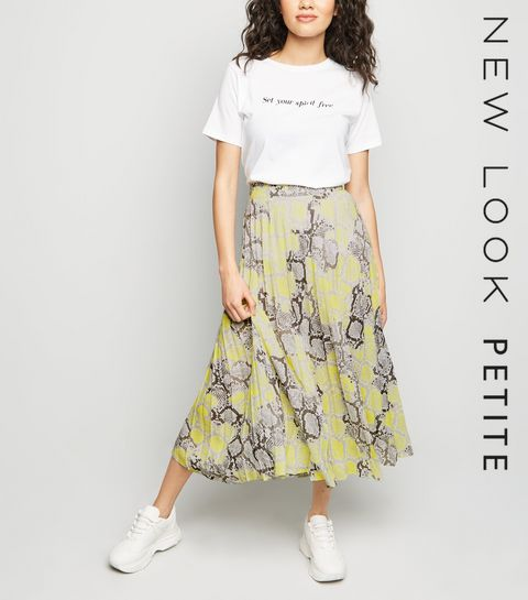 32c6ca9653 ... Petite Yellow Neon Snake Print Pleated Midi Skirt ...