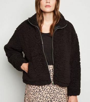 Black High Neck Teddy Jacket