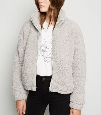 Pale Grey High Neck Teddy Jacket