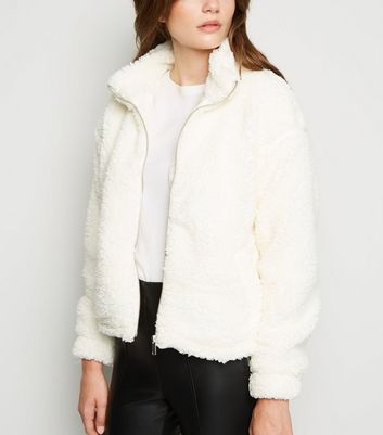 Cream High Neck Teddy Jacket