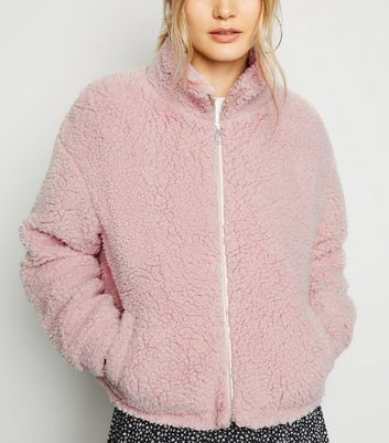 Pale Pink High Neck Teddy Jacket