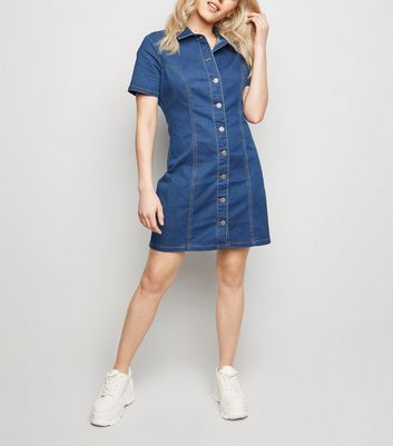 Petite Blue Button Front Denim Dress