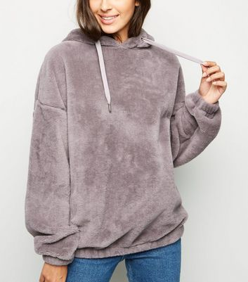 Pale Grey Faux Fur Oversized Hoodie