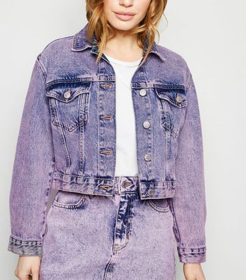 Petite Purple Acid Wash Denim Jacket