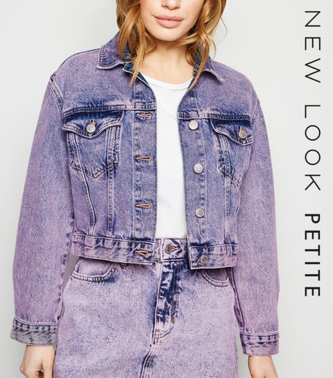 8deac1043b ... Petite Purple Acid Wash Denim Jacket ...