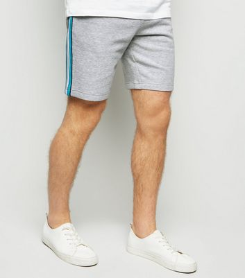 Pale Grey Marl Side Stripe Jersey Shorts