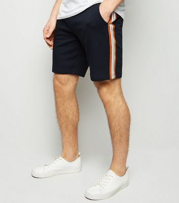 Navy Side Stripe Jersey Shorts