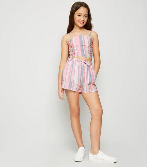 04b87de73f2c5 ... Girls Pink Stripe Linen Blend Shorts ...