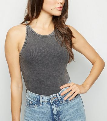 Dark Grey Rib Racerback Vest Top