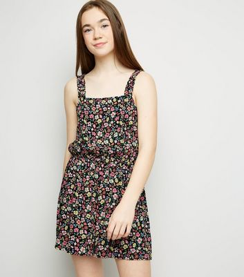 Girls Black Floral Frill Strap Playsuit