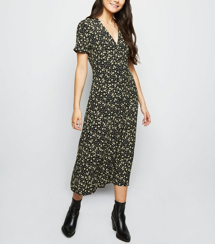 b03e384ee83a Tall Black Floral Button Front Midi Dress | New Look