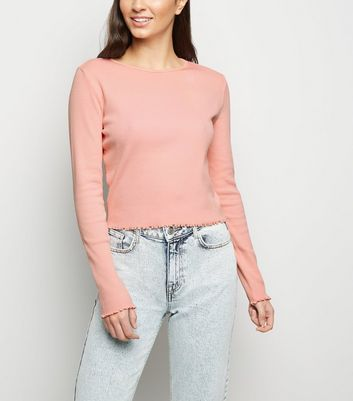 Pink Acid Wash Frill Trim Top