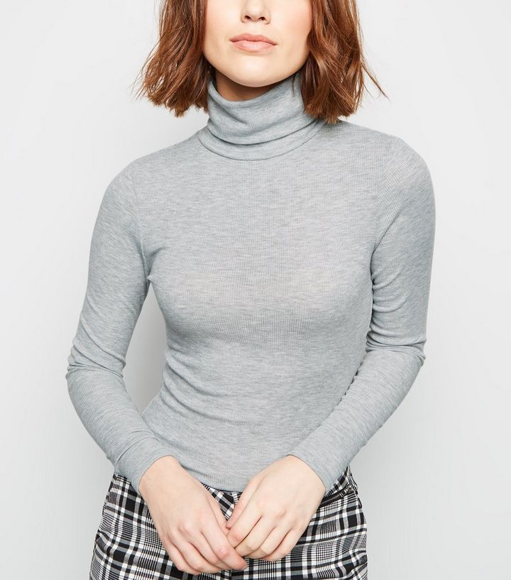 f62d25e43 Grey Ribbed Roll Neck Long Sleeve Top | New Look