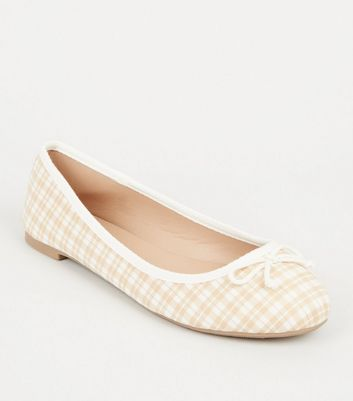 Wide Fit Off White Check Print Ballet Pumps