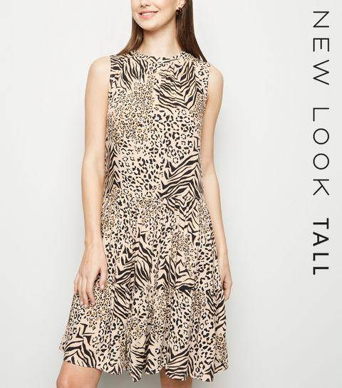 958e26ed4370 ... Tall Brown Animal Print Tiered Smock Dress ...