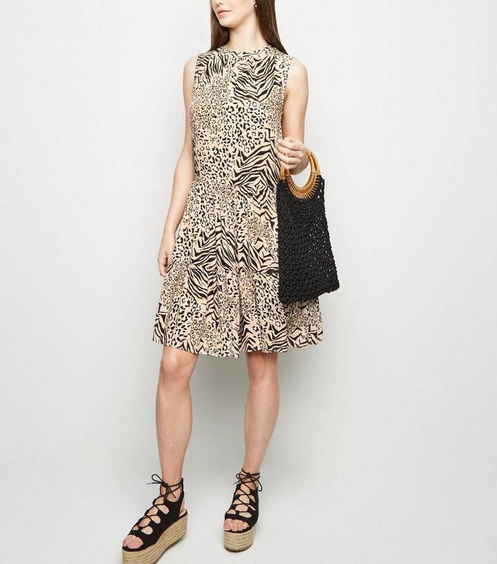 4fd13f2586ae68 ... Tall Brown Animal Print Tiered Smock Dress. ×. ×. ×. Shop the look