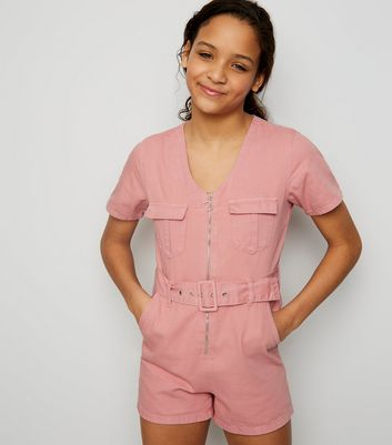 Girls Pink Utility Zip Front Playsuit
