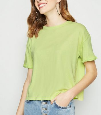Light Green Acid Wash Crop T-Shirt