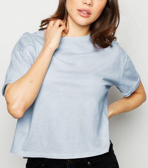 c585331cfb9 ... Pale Blue Acid Wash Crop T-Shirt ...