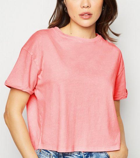 18c5ddd7b17 ... Pink Acid Wash Crop T-Shirt ...