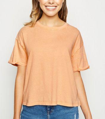 Coral Acid Wash Crop T-Shirt