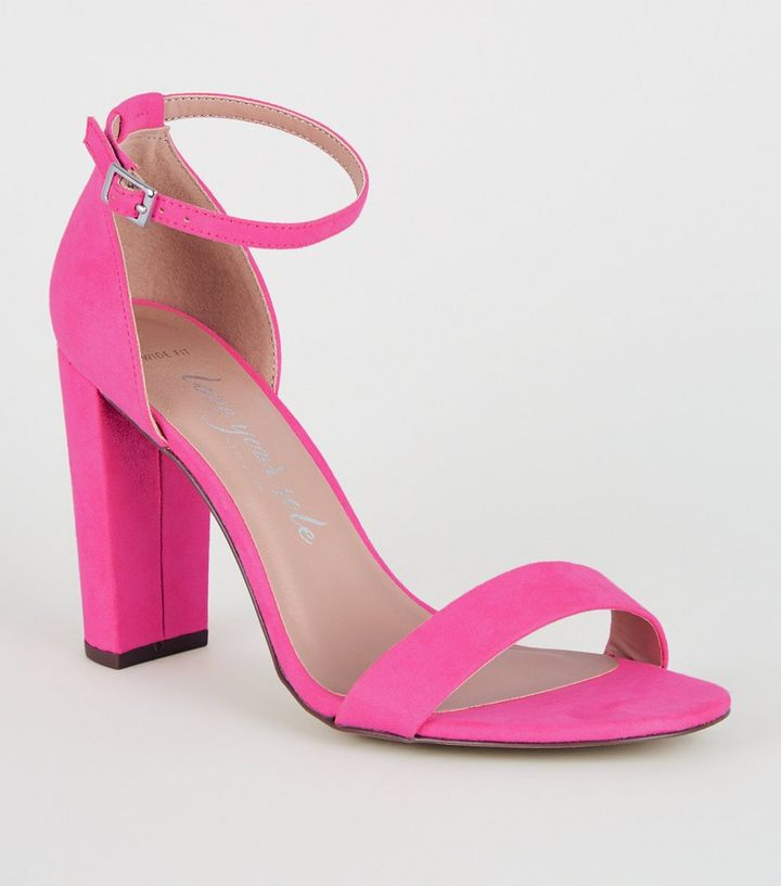 946c8ff60e6 Wide Fit Bright Pink Suedette Block Heel Sandals Add to Saved Items Remove  from Saved Items
