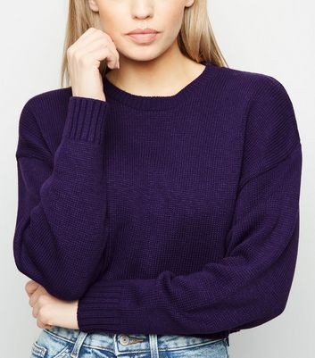 Dark Purple Boxy Crop Jumper