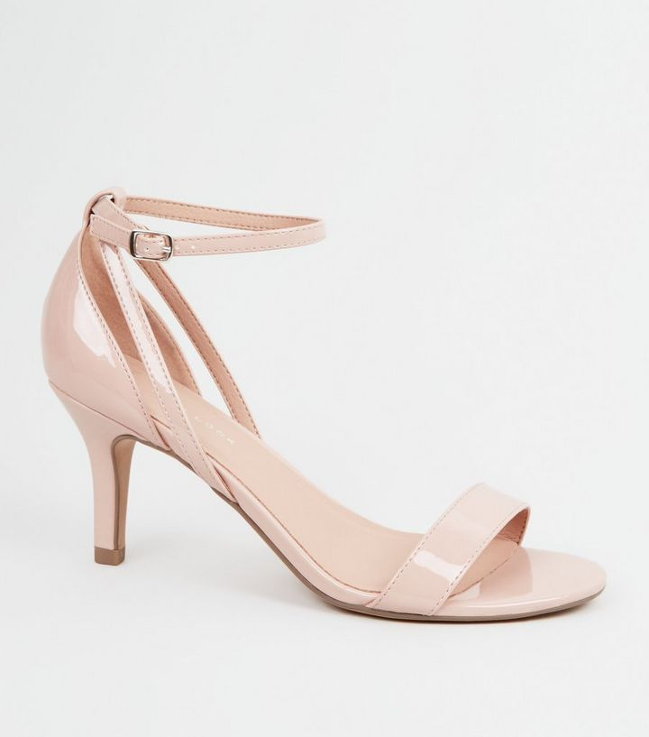 1d22722e4da9d Wide Fit Nude Patent Mid Heel Sandals   New Look