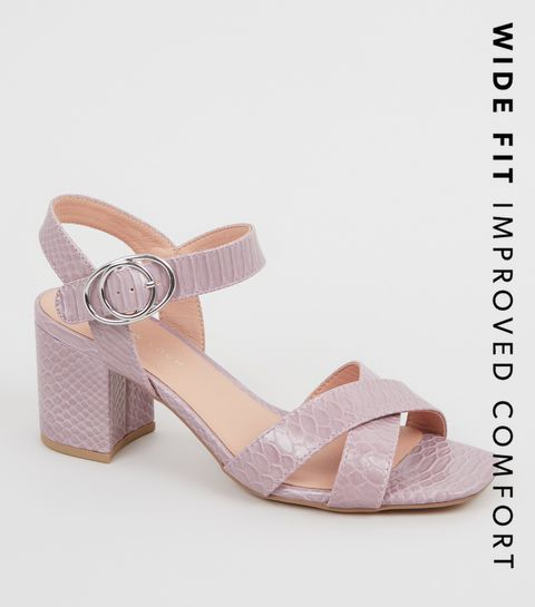 517f0233c137 ... Wide Fit Light Purple Faux Croc Sandals ...