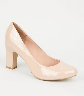 Wide Fit Nude Block Heel Court Shoes
