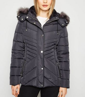 Dark Grey Faux Fur Trim Hooded Puffer Jacket