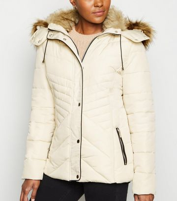Stone Faux Fur Trim Fitted Puffer Jacket