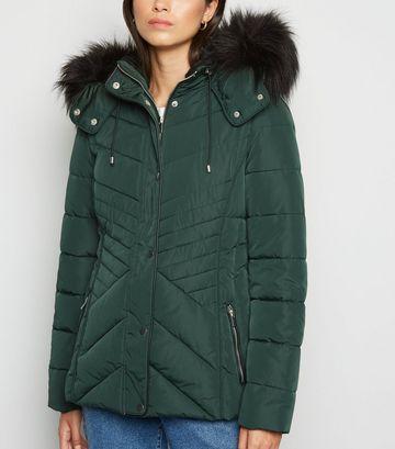 Dark Green Faux Fur Trim Fitted Puffer Jacket