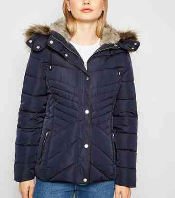 Navy Faux Fur Trim Hooded Puffer Jacket
