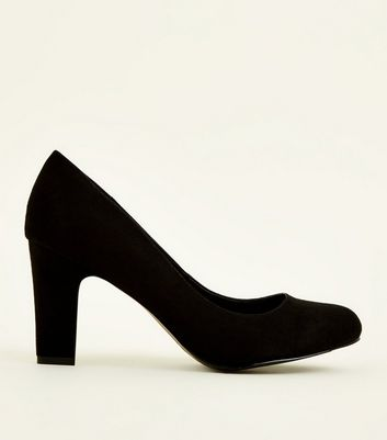 Wide Fit – Schwarze Pumps mit Blockabsatz