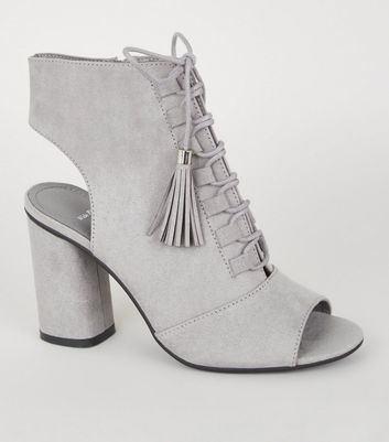 Wide Fit Grey Suedette Lace Up Peep Toe Heels