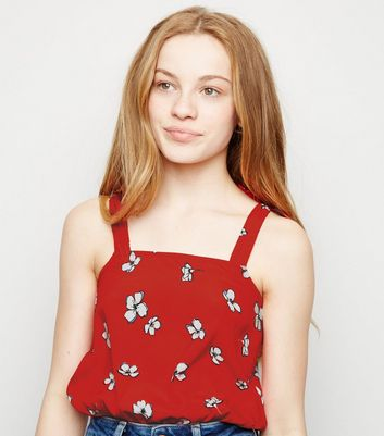 Girls Red Floral Tie Strap Cami