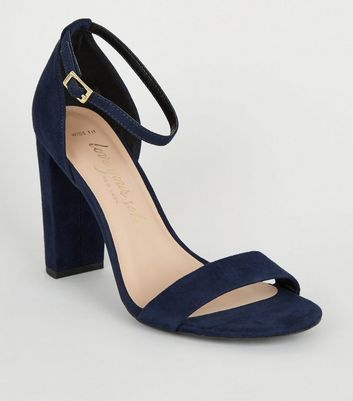 Wide Fit Navy Suedette 2 Part Block Heels