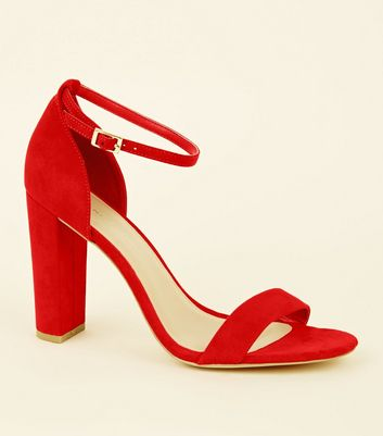 Wide Fit Red Suedette 2 Part Block Heels
