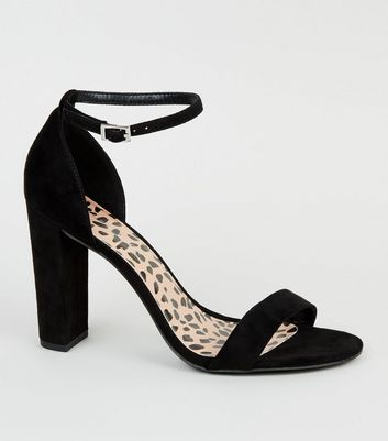 Wide Fit Black Leopard Print Insole Heeled Sandals
