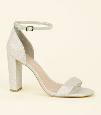 Wide Fit Silver Glitter Block Heels