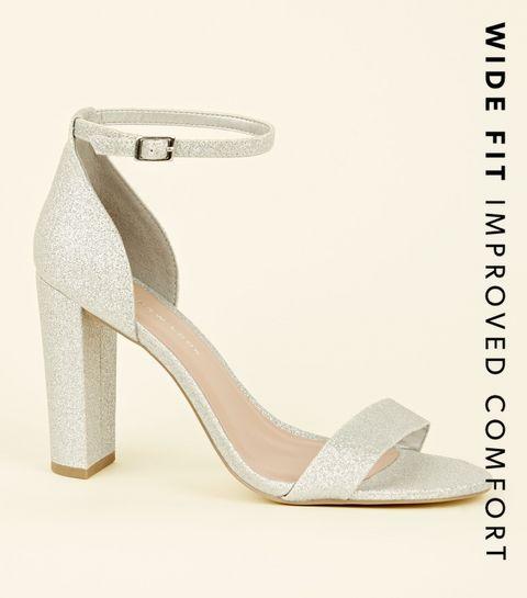 4be573684 ... Wide Fit Silver Glitter Block Heels ...