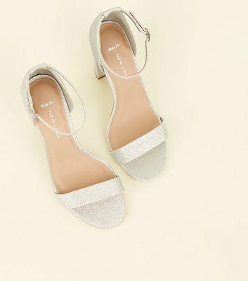 Wide Fit Silver Glitter Block Heels