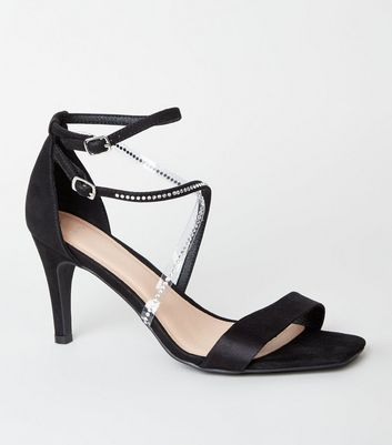 Wide Fit Black Suedette Diamanté Strap Stilettos