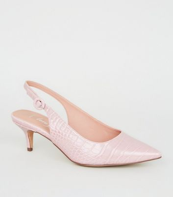 Wide Fit Nude Faux Croc Slingbacks